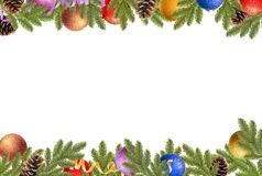 Christmas Frame. Christmas balls, pine cones and fir branches on a white background stock images