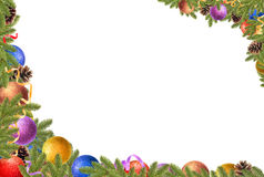 Christmas frame. Christmas balls, pine cones and fir branches on a white background stock photography