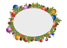 Christmas frame. Christmas balls, pine cones and fir branches on a white background stock photos