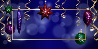 Christmas Frame Banner Template. Ball Fir Toys star golden silver sparkle serpentine streamer. New Year tree decoration. Gold blur defocused background.3d Stock Image