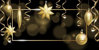 Christmas Frame Banner Template. Ball Fir Toys star golden silver sparkle serpentine streamer. New Year tree decoration. Gold blur defocused background.3d Royalty Free Stock Photo