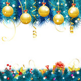 Christmas Frame. With Baubles, Fir Branches, Gold Streamer, Candy, Gift and Confetti, vector  on white background Royalty Free Stock Photo