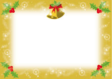 CHRISTMAS FRAME. WITH BELLS AND MISTETLOES Stock Photos