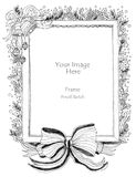 Christmas Frame and Big Bow art line royalty free illustration
