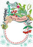 Christmas frame with a bird, mistletoe and berries Royalty Free Stock Photo