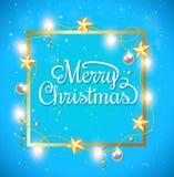 Christmas frame on a blue background Stock Photos