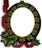 Christmas frame Border Holly and Ribbons frame. 3D Image and digital illustration composition for Christmas card, background or frame. Insert your own picture Royalty Free Stock Photos