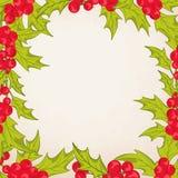 Christmas frame border with mistletoe holly berry Royalty Free Stock Photo