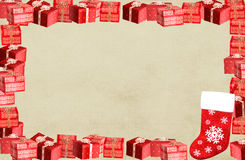 Christmas frame border with present boxes Stock Photos