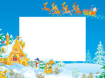 Christmas frame / border with Santa Claus Stock Photo