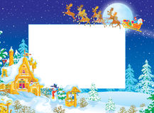 Christmas frame / border with Santa Claus Royalty Free Stock Photos