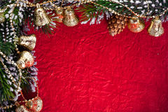 Christmas frame from branch and bells Royalty Free Stock Images