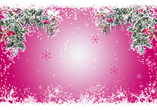 Christmas frame. Bright christmas with tree branches, red winter berries and snowflakes.Space for text Royalty Free Stock Photo