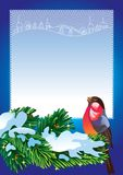 Christmas frame with bullfinch Royalty Free Stock Images