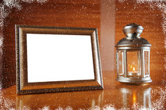 Christmas frame with candle and candlestick Stock Photo