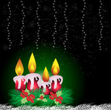 Christmas frame with candle Royalty Free Stock Images