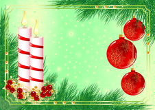 Christmas frame with candles and fir tree Stock Photography