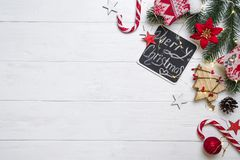 Christmas frame with candy and toys royalty free stock images