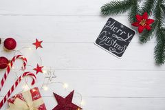 Christmas frame with candy and toys stock photos