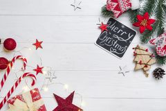 Christmas frame with candy and toys royalty free stock photo