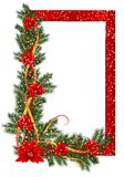 Christmas frame, cdr vector. Red christmas frame with fir branches, poinsettia, ribbons and snowflakes, vector format Royalty Free Stock Images