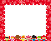 Christmas frame with children. And snowflakes on red background stock illustration