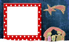 Christmas frame for children or babies. Christmas christian frame for children or babies, cute Nativity Scene and fun frame with polka dots Stock Images