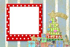 Christmas frame for children greeting card. Funny empty frame, Christmas tree with hearts and gifts Stock Photo