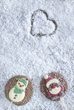 Christmas frame with chocolate figures Royalty Free Stock Photo
