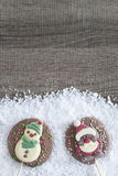 Christmas frame with chocolate figures Royalty Free Stock Image
