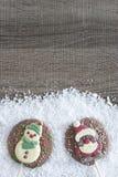 Christmas frame with chocolate figures Royalty Free Stock Image