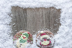Christmas frame with chocolate figures Stock Photography