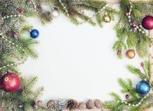 Christmas frame with Christmas ornaments and decorations. Christmas frame with Christmas ornaments Stock Image