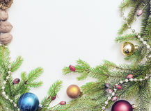 Christmas frame with Christmas ornaments and decorations.  Stock Photos