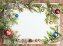 Christmas frame with Christmas ornaments and decorations.  Stock Photography