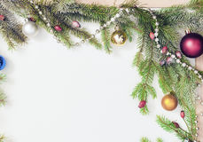 Christmas frame with Christmas ornaments and decorations.  Royalty Free Stock Image