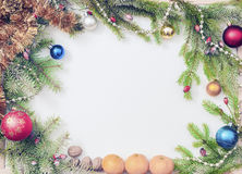 Christmas frame with Christmas ornaments and decorations. Christmas frame with Christmas ornaments Royalty Free Stock Image