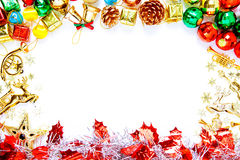 Christmas frame with Christmas ornaments and decorations and cop Royalty Free Stock Photo