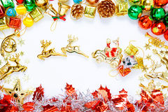 Christmas frame with Christmas ornaments and decorations and cop Royalty Free Stock Photography