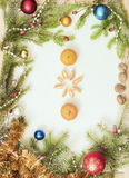 Christmas frame with Christmas ornaments and decorations.tangerines, cloves. Christmas frame with Christmas ornaments and decorations Stock Images