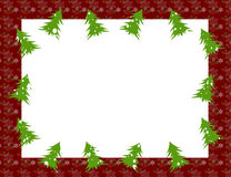 Christmas frame. An illustration of a frame with green Christmas trees, red holly berries and snow flakes Stock Illustration