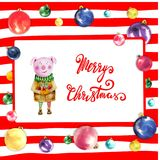 Christmas frame with colorful balloonsand pig on red striped background. Christmas frame with colorful balloonsand pig on red striped background Royalty Free Stock Photos