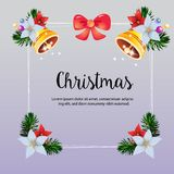 Christmas frame colorful bell decoration vector royalty free illustration
