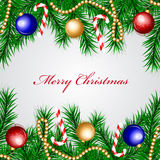 Christmas frame with colorful decorations Royalty Free Stock Images