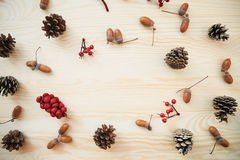 Christmas frame: cones, cinnamon, berries, acorn on the wood table Royalty Free Stock Photography