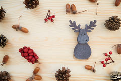 Christmas frame: cones, cinnamon, berries, acorn on the wood table Stock Images