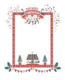 Merry Christmas and Happy New Year frame. Christmas frame for congratulations, invitations, postcards. With lettering composition merry Christmas and a Happy New Stock Photos