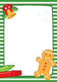 Christmas frame with cookie A3 stripes. Vector Christmas illustration of a green and white striped frame with a bell, two felt-tip pens and gingerbread man Royalty Free Stock Photo