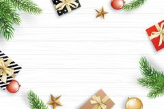 Christmas frame with copy space for text on white wooden backgro stock illustration
