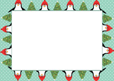Christmas frame. Cute and abstract christmas frame with happy penguins Royalty Free Stock Images